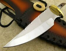 "5 1/4"" Knife Making Blade Blank w Brass Guard and Custom Leather Sheath"