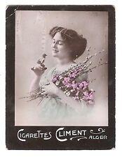 Cigarettes Climent Algeria Cigarette Tobacco Card Fancy Base Bird Girl Flowers