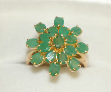 14k Solid Yellow Gold Flower Ring with Natural Emerald, 3.10 TCW, Size 7.5