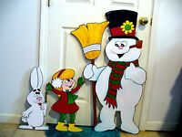 3-PIECE SET. FROSTY THE SNOWMAN , GIRL, RABBIT,CHRISTMAS YARD ART