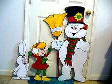 3-PIECE SET. FROSTY THE SNOWMAN , GIRL, RABBIT,CHRISTMAS YARD ART