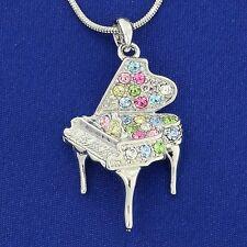 """w Swarovski Crystal Multi Color Music Grand Piano 18"""" Chain Necklace Pendant"""
