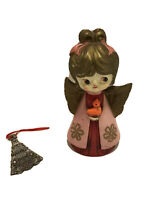 VTG HH Japan Adorable Girl Child Angel Holding Bird Figurine & Christmas Tree!