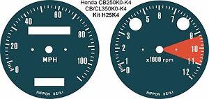 HONDA CL CB250 CB350 CB450 CB360 ALL TWIN SPEEDO TACH REV COUNTER DIAL OVERLAYS