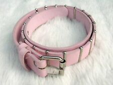 Vintage Pink faux leather silver metal bar Belt Cyber Punk Steam Punk Small