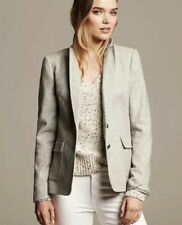 Banana Republic Hacking Jacket Womens 8 Gray Speckled Tweed Boucle Blazer Lined