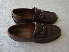 Gucci shoes leather 6 1/2 B loafers horsebit brown vintage 014875 Italy Men's