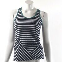 So Tank Top Size Navy Blue White Striped Sleeveless Cutout Back Womens