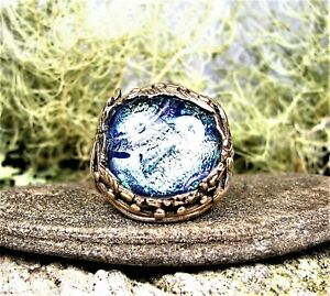 Organic Golden Bronze Ring-Sunrise Blue Dichroic Glass Stone-Size 7,5