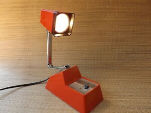 "1960s - 70s  Adjustable MCM Mid Century Modern Desk Lamp Orange ""Tensor Style"""