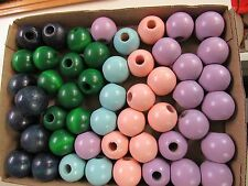 "50 ROUND  1-1/2"" WOODEN MIXED COLORED BEADS JEWELRY MAKING MACRAME  CRAFTS"