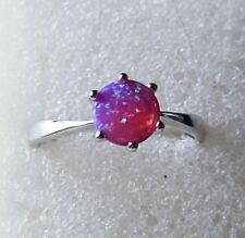 Opal Solitaire Ring / Size 8 / 925 Sterling Silver
