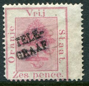 Orange Free State 1885 telegraph stamp 6d (black) SG T.5 un NO GUM (m cat £80)