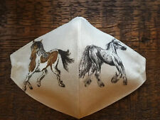"Lovely linen ""Skewbald/Grey Cob"" Horse Face Covering-adult, nose wire & washable"