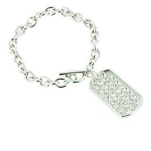 Bling Dog Tag Charm Bracelet MORE COLOURS AVAILABLE