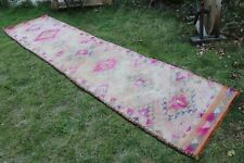"Vintage Handmade Turkish Pink Oushak Runner Rug 12'2""x2'10"""
