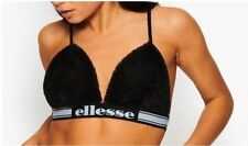 WOMEN'S ELLESSE PARADISO FAUX FUR BRA TOP - SIZE UK 10 - BLACK **NEW**