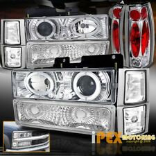 94-98 GMC Sierra Yukon [10PCS] Halo Projector LED Headlights+Signals+Tail Light