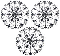 Well Pack Box Authentic Metal Iron Medallion Wall Art Decoration 3 Pack Black