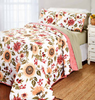 King or Queen Quilt Set Sunflower Bedding Country Home Decor Coverlet Bedspread