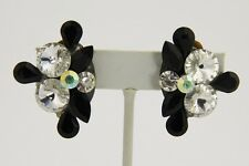 80s VINTAGE Jewelry ARTISAN SWAROVSKI BLACK  CLEAR RIVOLI PEAR CRYSTAL EARRINGS