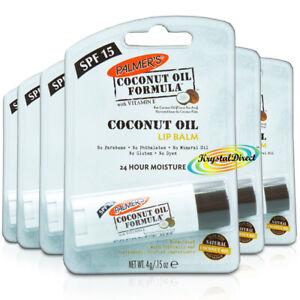 6x Palmers Moisturising Natural Coconut Oil Lip Balm With Vitamin E SPF15 4g