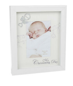 My Christening Day photo frame 4 x 6 inch with rattle embellishment