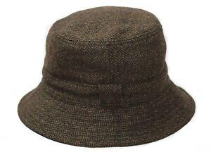 BRAND NEW MEN'S BROWN WOOL TWEED BR67 REVERSIBLE BUCKET HAT