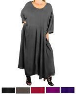 afc25cef92 WeBeBop Solid CRINKLE RAYON Delia Dress with Pockets L XL 0X 1X 2X 3X 4X 5X