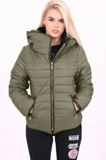 Womens Bubble Puffer Jacket Ladies Quilted Padded Coat Fur Collar Hood Thick Ma1 Khaki UK (10) Medium