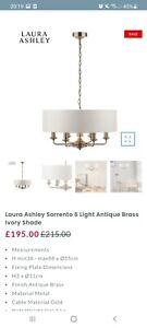 Laura Ashley Sorrento 6 Light Chandelier Ceiling Light Ivory Antique Brass
