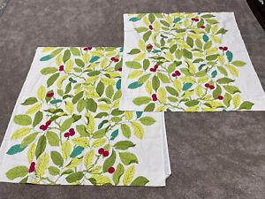 1 Pair IKEA STOCKHOLM BLAD Green Leaves & Berries Curtains ~ Cut! Hemmed *read*