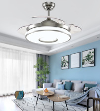 """New ListingModern 42"""" Invisible Ceiling Fans w/ Led Light Chrome Silver Remote Chandelier"""