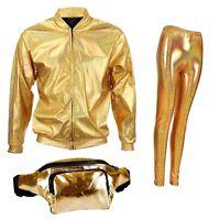 Holographic 80s 90s Metallic Bum Bag Jacket Leggings Fanny Pack Rave Fancy Dress