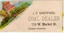 Louisville KY Early Advertisement Business Card J.D. Sheppard Coal Dealer Market