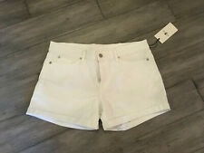 7 For All Mankind White Wash Denim Mid Thigh Shorts Size 32 NWT
