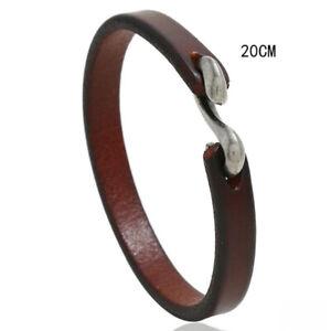 Mens Women Genuine Leather Bracelet Bangle Wristband Surfer Wrap Cuff Jewelry