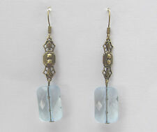 ART DECO STYLE EARRINGS RECTANGULAR LIGHT BLUE ACRYLIC CRYSTAL DARK GOLD PLATE