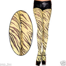 Opaque Yellow Black Zebra Stripe Animal Print Pattern Pantyhose Tights Halloween