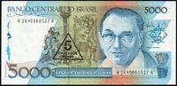 1989 Brazil 5 Cruzados on 5000 Cruzado Banknote * UNC * P-217a *