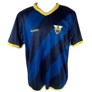 Very Rare Ecuador FEF International Football 2nd Away Kit Shirt Top Blue - XL