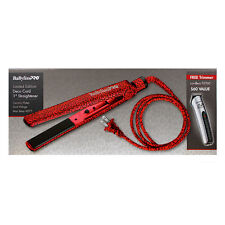 Babyliss Pro Limited Edition Deco Cord 1 Inch Ceramic Dual Voltage Flat Iron Red