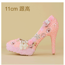Wedding Pink Women Rhinestone Lace Party High Stiletto Heel 14cm Shoes Club Yh