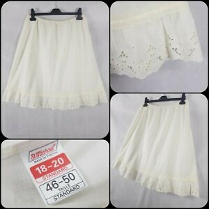 Vintage 1970s Cream St Michael Slip Petticoat Size 16-18 Broderie Anglais Trim