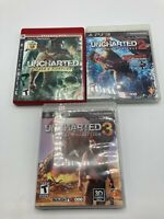 Sony PlayStation 3 PS3 Tested Uncharted Trilogy 1 2 3 LOT Cased Boxed