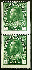 Canada #131 1c Dark Green 1926 King George V Vertical Coil Pair Fresh