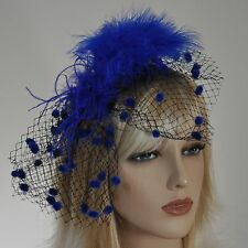 Fascinator AM diadema azul real Plumas Velo PUNTITOS adorno para cabello red