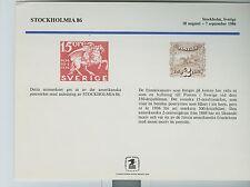Souvenir Card STOCKHOLMIA  '86 SC113 / SC 113 1986 Excellent Condition  [L8]