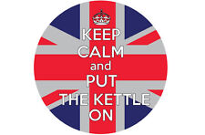KEEP CALM AND PUT THE KETTLE ON UNION JACK IN A CIRCLE VINYL STICKER 12cm x 12cm