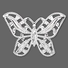 Silver Butterfly Pendant Charm 45mm Filigree Style Jewelry Lot of 4